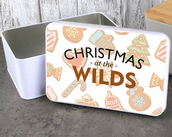 Personalised Christmas gingerbread storage tin gift idea, sandwich cake cookie biscuit tin, lunch box, kitchen gift - W235-RTIN11