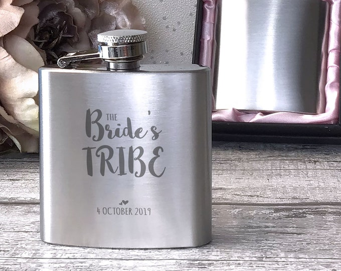 Personalised engraved Bachelorette HEN PARTY bride to be stainless steel hip flask gift, handbag sized, presentation box - 3HEN2