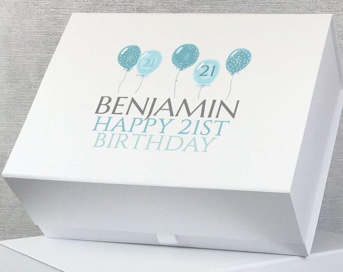 Personalised BIRTHDAY keepsake gift box hamper, birthday balloons, any age, custom memory box - BALL
