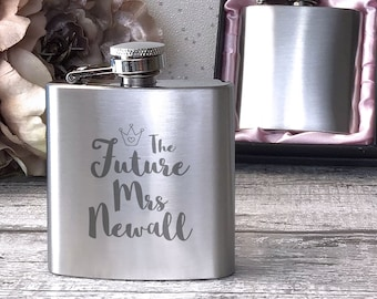Personalised engraved Bachelorette HEN PARTY bride to be stainless steel hip flask gift, handbag sized, presentation box - 3HEN1