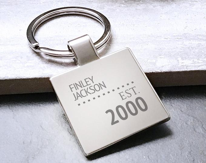 Personalised engraved BIRTHDAY KEYRING gift, 18th 21st 30th 40th 50th 60th birthday key chain, established - 5580ES60