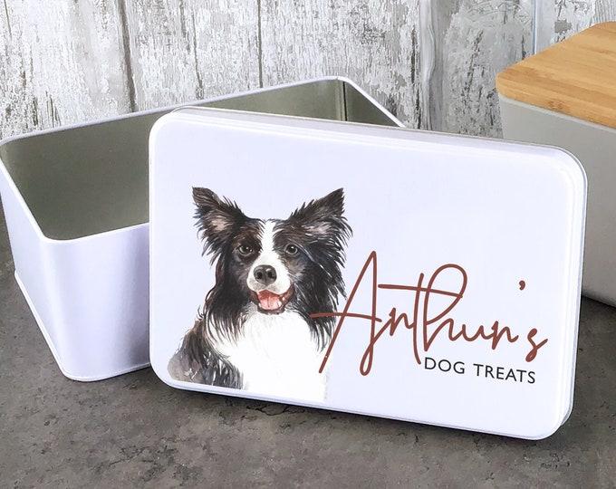 Personalised dog treat storage tin, biscuit tin pet gift, Border Collie dog theme - W235-DOG1