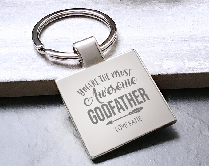 Personalised engraved AWESOME GODFATHER keyring gift, Father's Day gift metal key chain - 5580AWE8