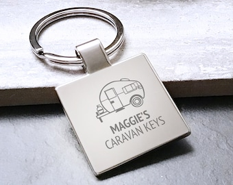 Personalized Vintage Caravan Corner Windows Trailer Key Ring  Silver Key Ring  Personalised Key Ring