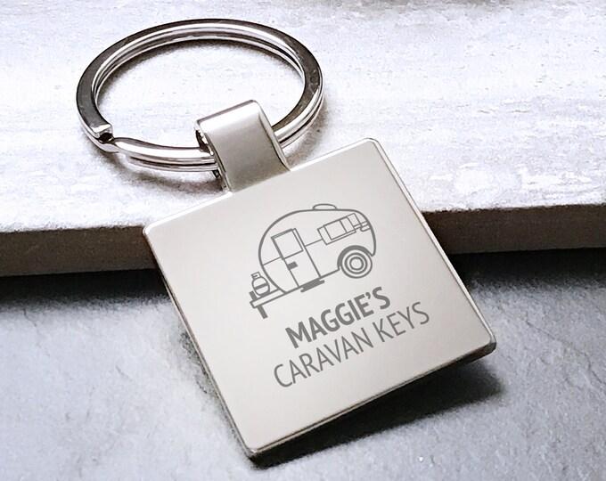 Personalised SISTER, FRIEND caravan keyring square metal keychain gift - 5580CVAN8