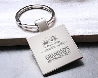 Personalised  MOTORHOME keyring, grandad's motorhome metal keychain gift, adventure awaits grandad - 5580MH2