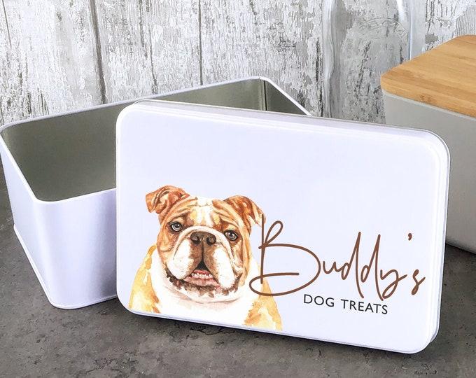 Personalised dog treat storage tin, biscuit tin pet gift, Bulldog Bull dog theme - W235-DOG2