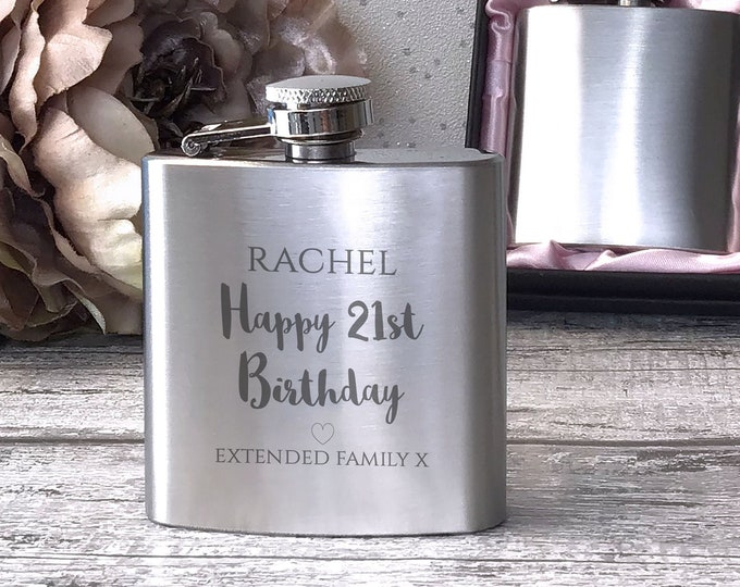 Personalised engraved BIRTHDAY stainless steel hip flask gift for her, handbag sized in a presentation box - 3SP21