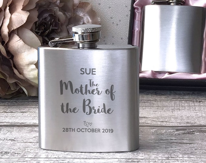 Personalised engraved MOTHER of the BRIDE stainless steel hip flask wedding thankyou, hen party gift, handbag sized, presentation box - 3WD5
