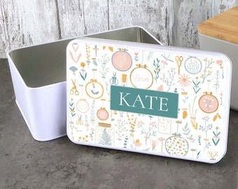 Personalised embroidery craft storage tin gift idea, sandwich cake cookie biscuit tin, lunch box, kitchen gift - W235-RTIN5