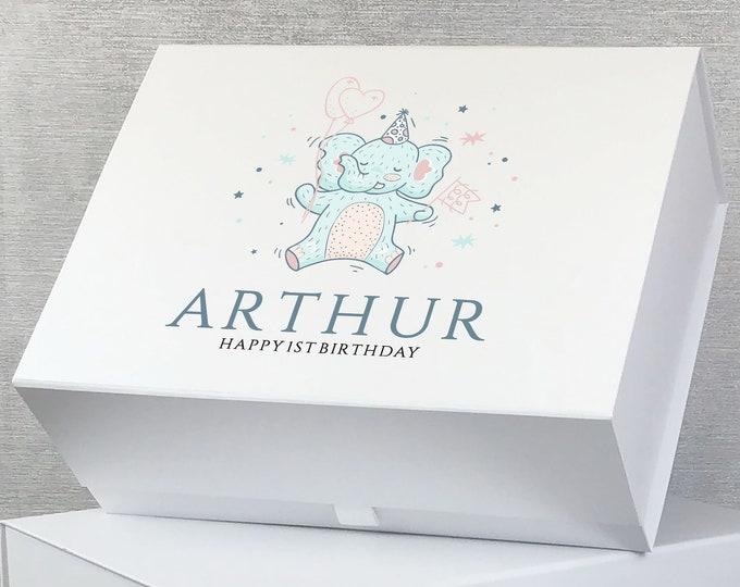 1st Birthday gift box, personalised baby memory keepsake box, elephant design, magnetic closure - MB28-1ST3