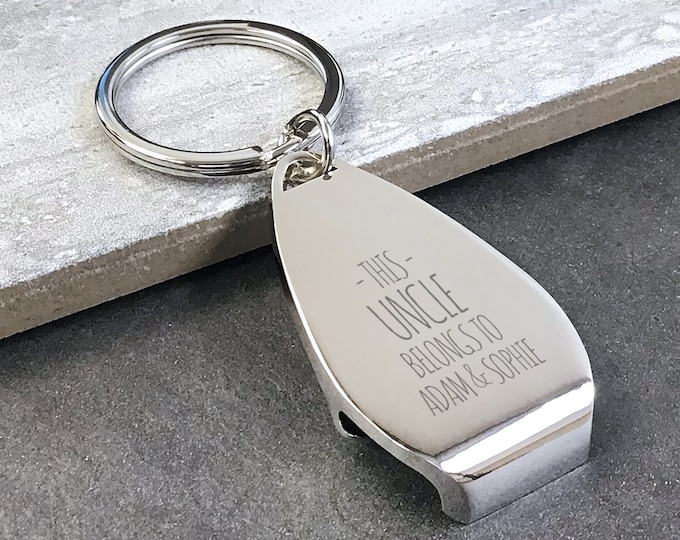 Personalised engraved This UNCLE belongs to bottle opener KEYRING gift, personalized metal keyring keychain - PKBL3