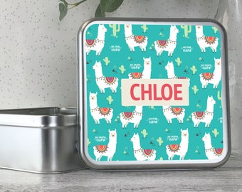Personalised kids metal tin storage box gift idea, biscuit tin, treats tin, craft tin, llama design - TS17-TN18
