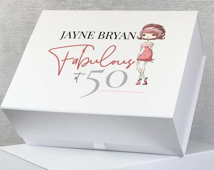 Personalised BIRTHDAY keepsake gift box for her, Fabulous at 18th 21st 30th 40th 50th 60th 70th birthday box - LEBX-BD2