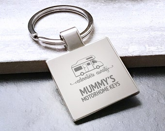 Personalised MUMMY mum MOTORHOME keyring square metal keychain gift, adventure awaits - 5580MH5
