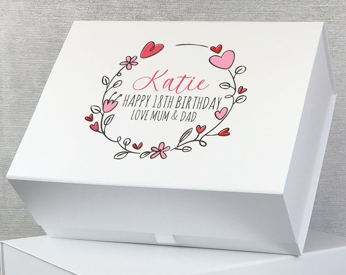Personalised BIRTHDAY keepsake gift box for her, pink floral heart design, 18th 21st 30th 40th 50th 60th 70th birthday box - LB28-PH