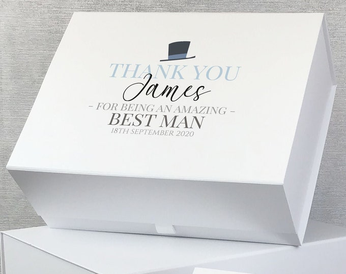 Personalised best man gift box, grooms party, keepsake box for best man groomsman usher father of the bride and groom - LEBX-WHA