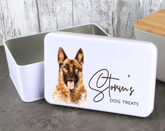 Personalised dog treat storage tin, biscuit tin pet gift, German Shepherd, Alsation dog theme - W235-DOG5