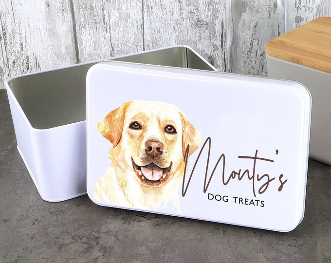 Personalised dog treat storage tin, biscuit tin pet gift, Golden Retriever Labrador theme - W235-DOG3