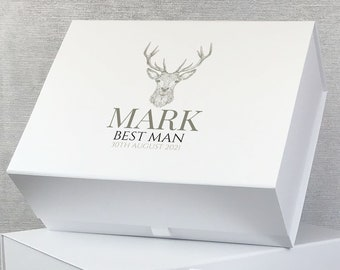 Personalised best man gift box, grooms party, keepsake box for best man groomsman usher father of the bride and groom - LEBX-STA