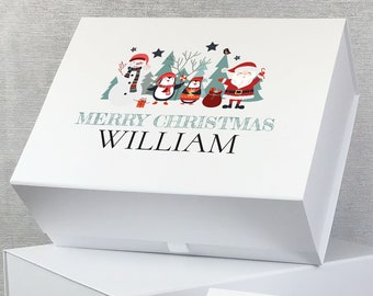 Personalised Christmas Eve gift box, keepsake memory box with magnetic closure. Postcard from Santa - LEBX-XMA3
