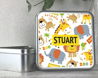 Personalised kids metal tin storage box gift idea, biscuit tin, treats tin, craft tin, jungle animal design - TS17-TN12