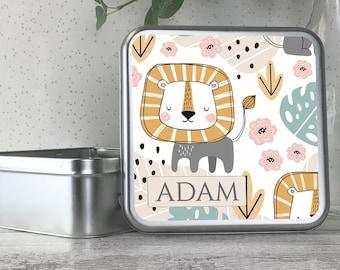 Personalised kids jungle lion themed tin box, metal storage box gift idea, biscuit tin, treats tin, craft tin - TS17-TN27