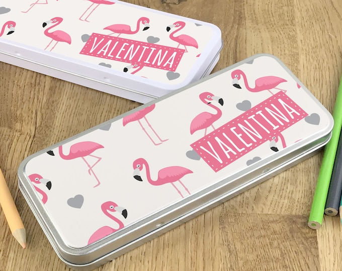 Personalised flamingo pink pencil tin, kids pencil case gift idea - NSTPC56