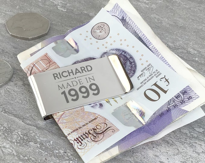 Personalised engraved Money Clip keepsake gift idea for an 18th 21st 30th 40th 50th 60th birthday MC-MC