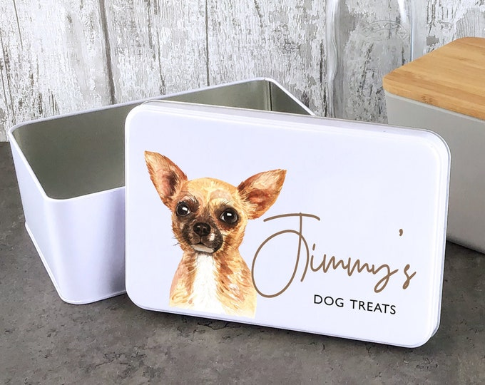 Personalised dog treat storage tin, biscuit tin pet gift, Chihuahua dog theme - W235-DOG1