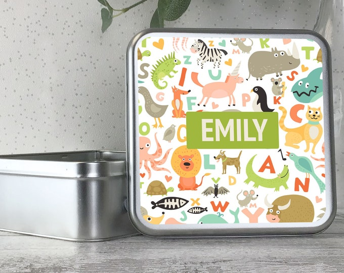 Personalised kids animal alphabet themed tin box, metal storage box gift idea, biscuit tin, treats tin, craft tin - TS17-TN24