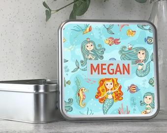 Personalised kids metal tin storage box gift idea, biscuit tin, treats tin, craft tin, mermaid design - TS17-TN8