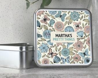 Personalised metal tin storage box gift idea, pretty things, jewellery, bits and bobs, keepsakes - TS17-TN6