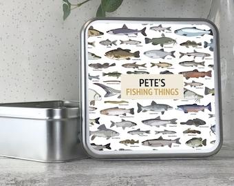 Personalised metal tin storage box gift idea, fishing tackle, angling, fisherman, angler, tackle box - TS17-TN17