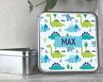 Personalised kids metal tin storage box gift idea, biscuit tin, treats tin, craft tin, dinosaur design - TS17-TN14