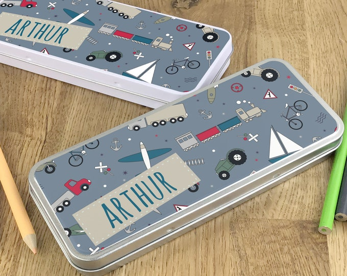 Personalised transport pencil tin, kids pencil case gift idea - NSTPC44