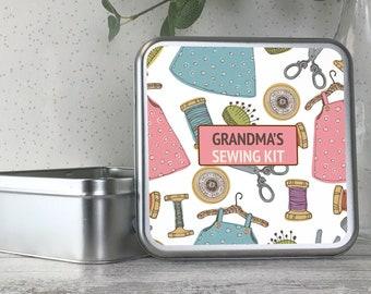 Personalised sewing box gift, metal tin box, sewing kit, craft box - TS17-TN2