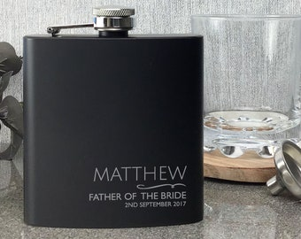 Engraved FATHER of the BRIDE black hip flask WEDDING gift, laser engraved, presentation gift box - NYM1