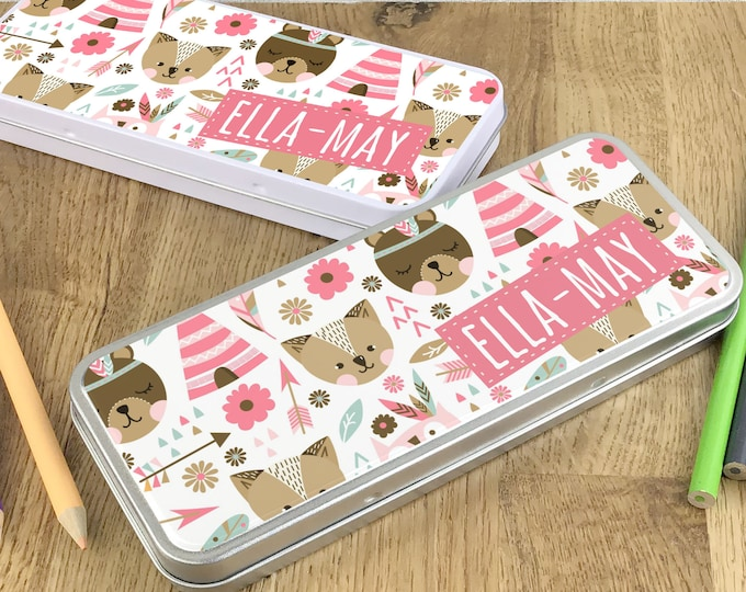 Personalised woodland animals pencil tin, kids pencil case gift idea - NSTPC38