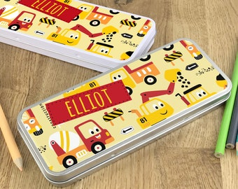 Personalised construction truck digger pencil tin, kids pencil case gift idea - NSTPC32
