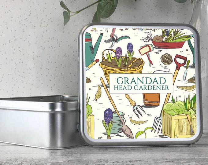 Personalised metal tin head gardener gift, allotment seed storage box gardener gift, gardening gift idea - TS17-TN32