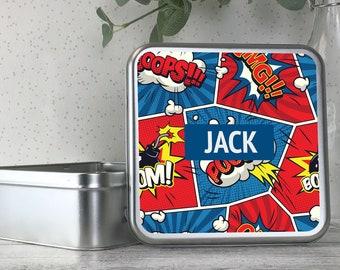 Personalised kids superhero comic themed tin box, metal storage box gift idea, biscuit tin, treats tin, craft tin - TS17-TN23