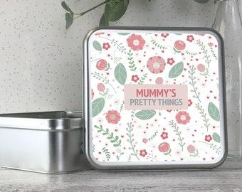 Personalised metal tin storage box gift idea, pretty things, jewellery, bits and bobs, keepsakes - TS17-TN19