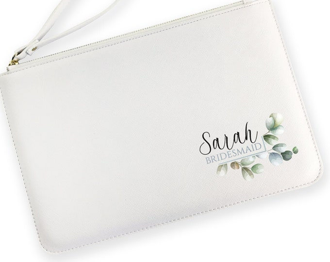 Personalised BRIDESMAID gift, clutch bag, bridesmaids gift, hen party gift, wedding bridal party, vegan leather purse  - WZP-LF3
