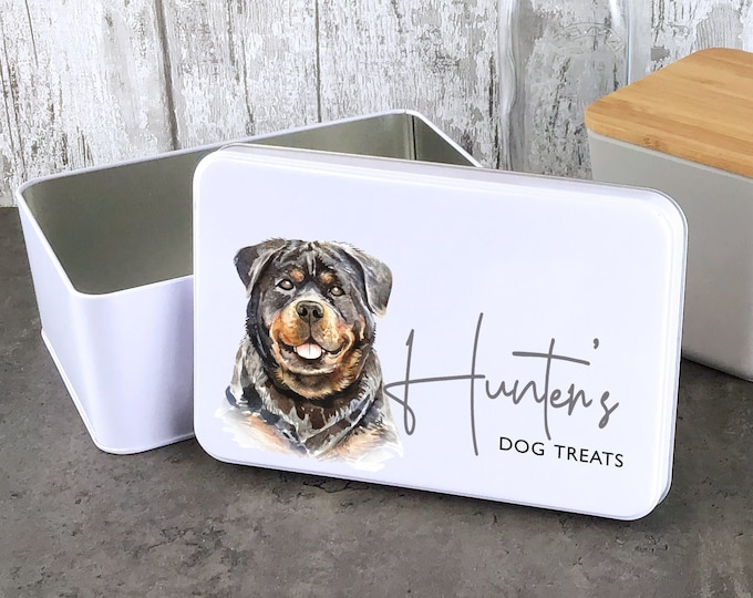 Personalised dog treat storage tin, biscuit tin pet gift, Rotweiller dog theme - W235-DOG8