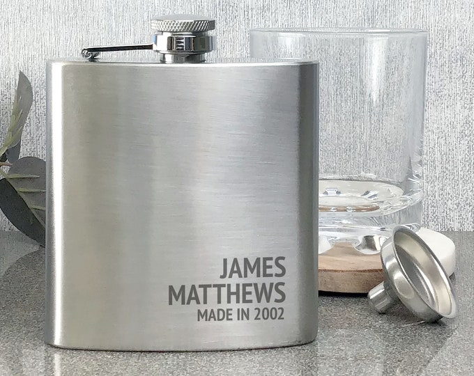 Engraved BIRTHDAY hip flask personalised gift, stainless steel, presentation box, Made in - 6SS_RBD18