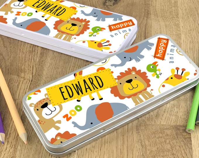 Personalised jungle animal pencil tin, kids pencil case gift idea - NSTPC30