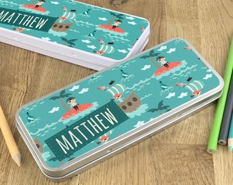 Personalised pirate pencil tin, kids pencil case gift idea - NSTPC42
