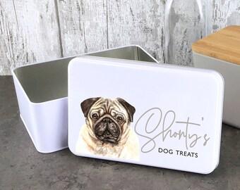 Personalised dog treat storage tin, biscuit tin pet gift, Pug theme - W235-DOG4