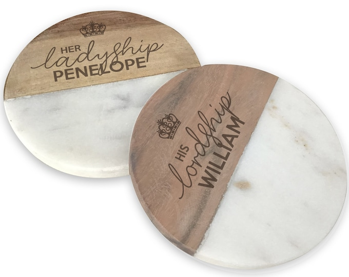 Engraved LORD and LADYSHIP coasters gift, pair of coasters, wedding anniversary personalised gift idea - CW0-LORD